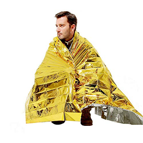 niceluke(3枚組)エマージェンシーシートアルミシート防災,サバイバルシートコンパクト(防寒/保温/遮熱),災害、キャンプ、登山時防寒対策ゴールド+シルバー/140cm×210cm