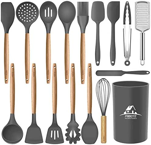 Mibote 17 Pcs Silicone Cooking Kitchen Utensils Set with Holder Wooden Handles BPA Free Non product image