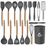 Mibote 17 Pcs Silicone Cooking Kitchen Utensils Set with Holder, Wooden Handles BPA Free Non Toxic...