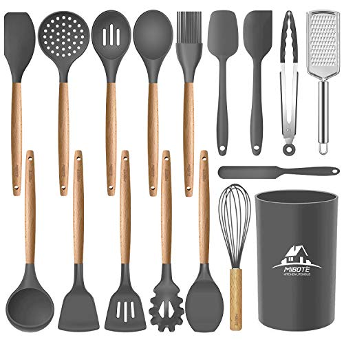 MIBOTE 17 Pcs Silicone Kitchen Utensils Set with Holder, Wooden Handles BPA Free Non Toxic Silicone Turner Tongs Spatula Spoon Kitchen Gadgets Utensil Set for Nonstick Cookware (Grey)