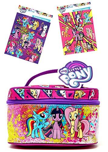 MLP My Little Pony - glitzernder Kinder Beauty Bag ca. 19 cm Kosmetikkoffer / Kulturtasche / Kosmetiktasche + 16 My Little Pony Sticker - Funkelnde glitzernde Spielzeugtasche oder Kosmetiktasche