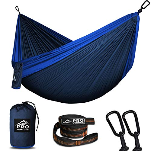 Double and Single Camping Hammocks - Hammock, Premium Straps + Carabiners - Lightweight and Compact...