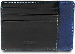 GIUDI ® Portafoglio in pelle vacchetta, vera pelle, uomo, porta tessere in pelle, Made in Italy (Nero/Bluette)