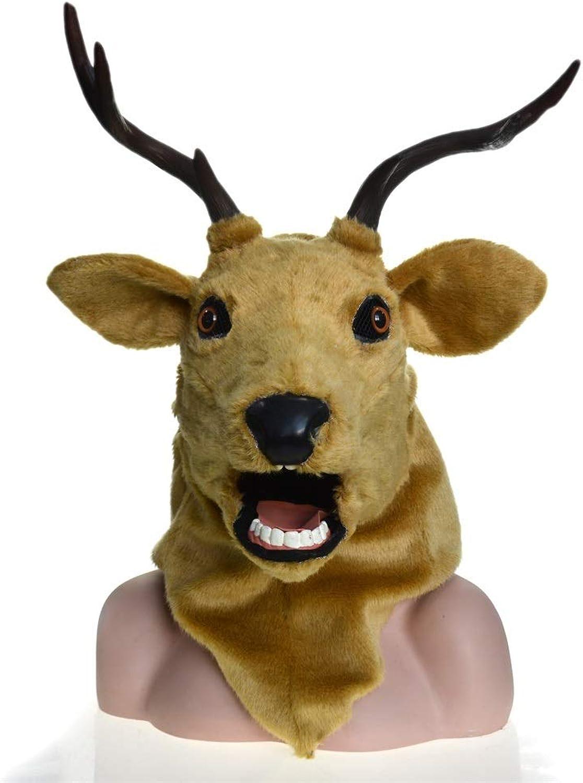 Realistische Tiermaske Handgemachte mageschneiderte Simulation Tier Hirsch Maske Moving Mouth Maske for Halloween Karneval festliche Party Supplies (Farbe   braun)