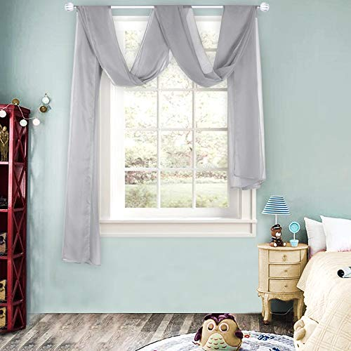 Grey Sheer Window Scarf Valance for Girls Room Soft Voile Curtain Scaves Wedding Party Bed Canopy ,1 Panel 52 x 144 Inches Long