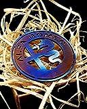 Portachiavi FORTILLO Alfa Romeo (Acciaio Inox/Ottone/Titanio/Blu - tutto fatto a mano) (Titanio)