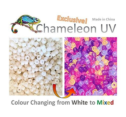 Goodlucky365 500 Uv Multi Colore Cambiando Reattivi Perline Pony plastica - Brilla anche al Buio