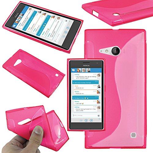 ebestStar - Cover Compatibile con Nokia Lumia 735 730 Dual Custodia Protezione S-Line Design Silicone Gel TPU Morbida e Sottile, Rosa [Apparecchio: 134.7 x 68.5 x 8.9mm, 4.7'']