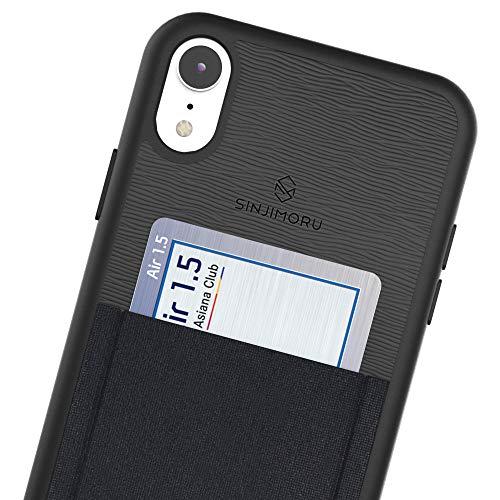 Sinjimoru iPhone XR Handyhülle mit Karten-Halter, TPU Handy Hülle Designed für iPhone XR, iPhone XR Kartenfach Wallet Case, Sinji Pouch Case für iPhone XR, Schwarz mit Schwarzem Rahmen.