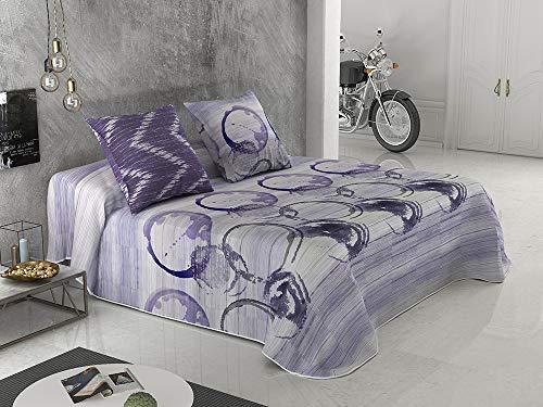 BENEDETTAHOME Colcha Bouti Primavera-Verano Modelo Perla, Malva con cuadrante Decorativo. Tamaño para Cama 135-235x260 cm + 2 cuadrantes de 50x50 cm.