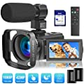 Video Camera Camcorder with Microphone, VideoSky 42MP HD 1080P 30FPS Digital Recording Camcorders for YouTube 64 GB Memory Card Vlogging IR Night Webcam Time-Lapse Slow Motion,Touch Screen, Lens Hood