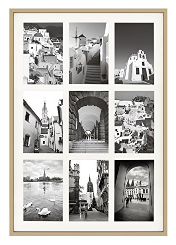 Golden State Art 13.6x19.7 Gold Aluminum Collage Frame - Ivory Mat Included - Fits Nine 4x6 Photos/Pictures - Sawtooth Hanger - Swivel Tabs - Wall Mounting - Landscape/Portrait - Real Glass