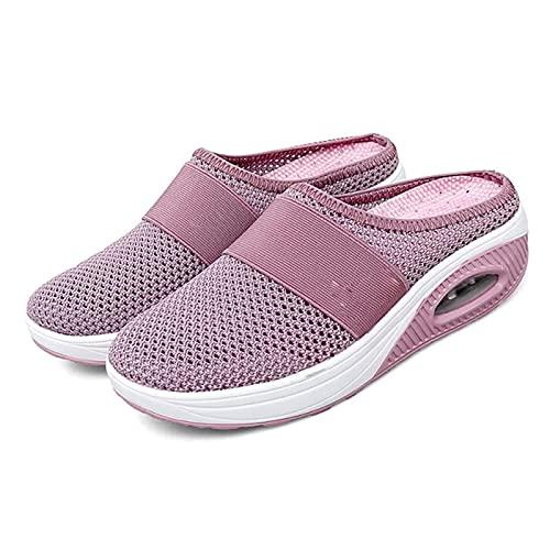 BIUBIULOVE Chaussures de Marche à Enfiler à Coussin d'air Chaussures de Marche orthopédiques pour diabétiques, Respirantes avec Soutien de la voûte Plantaire,Baskets de Marche en Plein air (Rose,41)