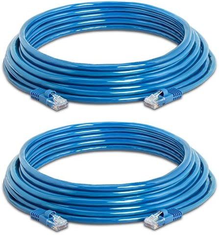 Cat5e Ethernet Cable 25 ft Blue Gold Plated Contacts Male to Male Patch Cord 2 Pack product image
