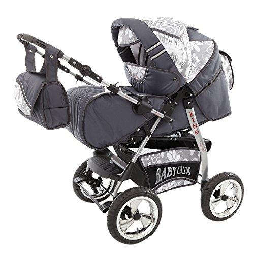 Lux4Kids Kinderwagen Set Babywanne Sportsitz Babyschale Wickeltasche Matratze Buggy optionales Zubehör Megaset über 400 Auswahlmöglichkeiten 3in1 oder 2in1 Set Made in EU iCaddy GT-Silver Flowerpower