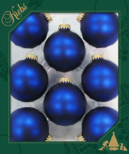 Lot de 8 boules de Noël originales LUSCHAER - En satin mat bleu roi - 6,7 cm - Avec couronnes dorées + 50 crochets de suspension rapides en or gratuits.