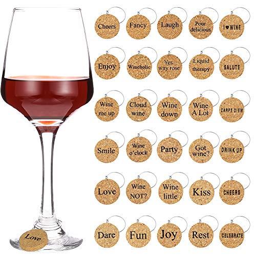 hugttt 30 stuks wijnglas bedeltjes Markers met leuke zeggingen, Wijnglas ringen Tags drinken Markers voor wijn glas Champagne fluiten Cocktails, Martinis, Houten