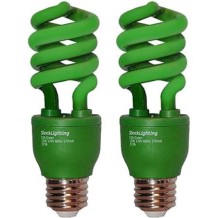 SleekLighting 13 Watt Green Spiral CFL Light Bulb- UL approved- 120Volt, E26 Medium Base. (Pack of 2)