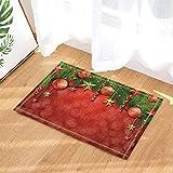 SHUHUI Alfombra temática de Bolas de decoración navideña,baño Absorbente y Duradero de Cocina,cojín de Franela Suave Antideslizante para la habitación de los niños