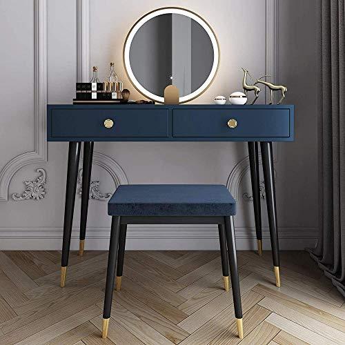 CDFCB Mesa de Maquillaje de tocador de tocador con 3 Modos de Espejo de Brillo Ajustable y Taburete amortiguado niñas Princesa Elegante Regalo-Azul_60 cm
