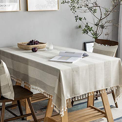 CYYyang Borla del Paño de Tabla del Lino del Algodón para la Cubierta de Tabla de Cena del Banquete Rayas geométricas Borla de Lino y algodón de imitación de Color Liso