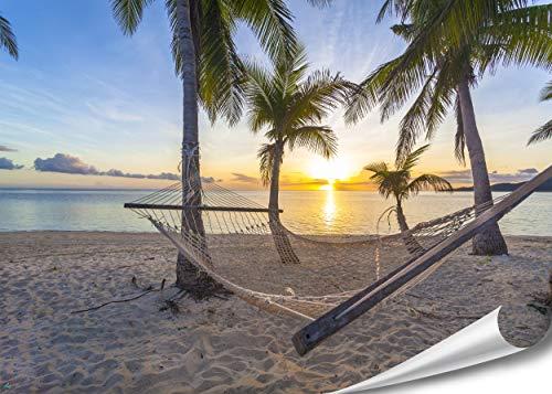 PMP 4life.® XXL Poster Strand Hängematte vor Sonnenuntergang am Meer HD 140cm x 100cm Hochauflösende Wanddekoration Natur Bild für Wandgestaltung Wandbild | Fotoposter Karibik Sonne Sommer Palmen