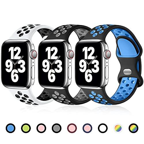 Ouwegaga Compatible con Apple Watch Correa 44mm 40mm 38mm 42mm, Silicona Portiva de Correa Repuesto de Correas Compatible con Apple Watch SE/iWatch Series 6 5 4 3 2 1 42mm/44mm-M/L Pack 3-A