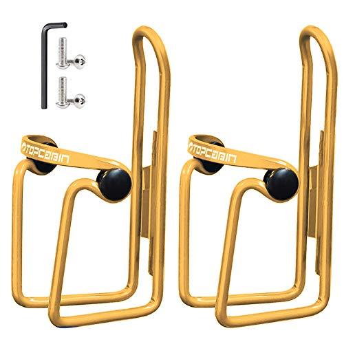 TOPCABIN ボトルケージ 自転車ボトルホルダー 超軽量アルミ合金製 サイズ調整可能 クランプ付き (ゴールド2つ)