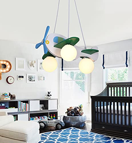 CLJ-LJ Araña de avión de madera Compatible with niños niños niño dormitorio led colgante colgante lámpara vivero avión suspensión luces (Emitting Color : Not include bulbs)