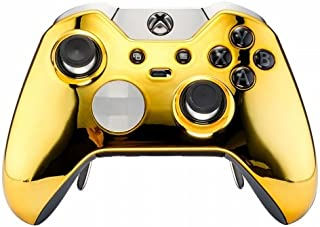 Chrome Gold Rapid Fire Custom Modded Controller Compatible with Xbox One Elite 40 Mods for All Major Shooter Games, Auto Aim, Quick Scope, Auto Run, Sniper Breath, Jump Shot, Active Reload & More