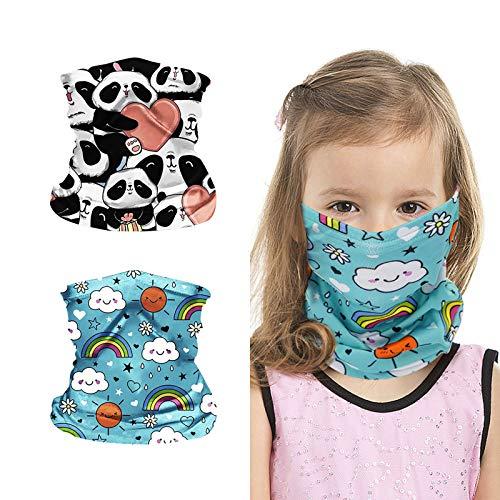2Pcs Kids Bandanas Face Mask Magical Neck Gaiters for Boys Girls with Ear Loops Outdoor Breathable Balaclava Dust UV Protection Scarf Headwear Headband (Panda_Heart Pattern+Rainbow_Sky Blue Pattern)