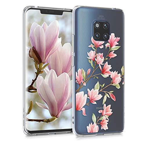 kwmobile Hülle kompatibel mit Huawei Mate 20 Pro - Hülle Handy - Handyhülle - Magnolien Rosa Weiß Transparent