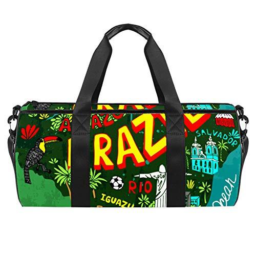 Bolsas de viaje para la playa, grandes deportes para gimnasio, durante la noche, diseño de mapa de Brasil, bolsa de hombro con bolsillo seco y húmedo
