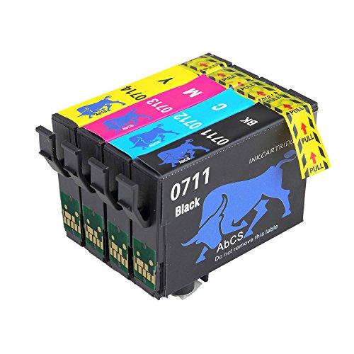 Cartuchos de Tinta Alta Capacidad T0711 T0712 T0714 T0711 (T0715), compatible con cartuchos Epson Stylus -Multipack, color 1 negro, 1 cyan, 1 Magenta, 1 Amarillo
