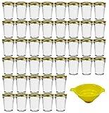 Viva Haushaltswaren - 42 x kleines Becherglas / Marmeladenglas 80 ml mit goldfarbenem Deckel,...