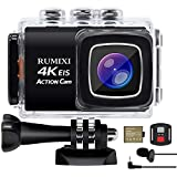 RUMIXI Action Camera 4K WiFi EIS 30M Underwater Waterproof Sports Camera Ultra HD Wide Angle 170° with Remote Control and Helmet Accessories Kit