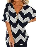 Ezcosplay Women Zipper Front V Neck Asymmetric Hem Color Block Tops T-Shirt