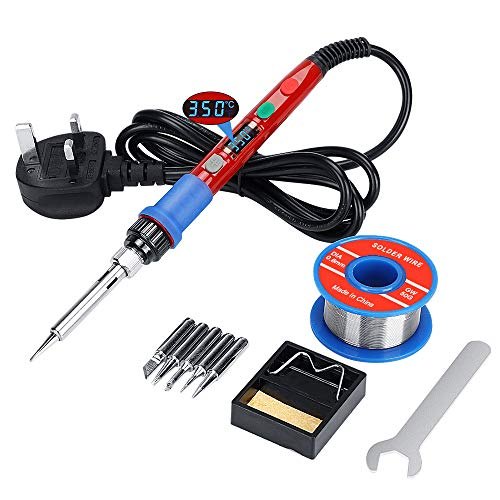 Soldering Iron Kit Solder Gun,Welding Tools with Digital-Controlled LCD Screen,90W Thermostat Electric Welding Iron Gun with Automatic Sleeping Mode for Electronic Production Soldering Desoldering