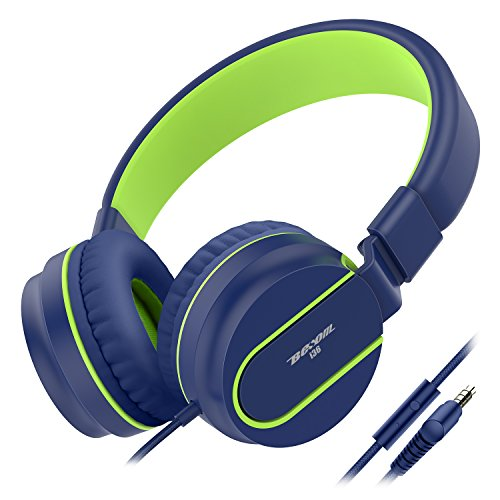 Kids Headphones, Besom i36 Foldable Stereo Ear Headphones w/Mic 3.5mm Jack Wired Cord On-Ear Headset, Gifts for Children,Headphone for School Home and Travel(Blue Green)