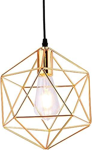 Style moderne galvanoplascravate motif géométrique Design Metal Cage pendentif Restaurant Restaurant Cafe pendentif Lamp