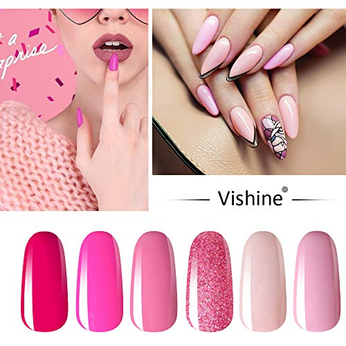 Vishine Lot de 6 Vernis à Ongles Gel Semi Permanent Rose Pink Nu Soak Off UV LED Gel Nail Polish Nail Art Classique Set