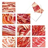 Makin' Bacon' Boxed Set of 10 Thank You Cards with Envelopes and a Reusable Box, Food-Themed Thank You Notes 4 x 5.12 inch, Meat Lover Gratitude Cards for Friends and Family Members M3008