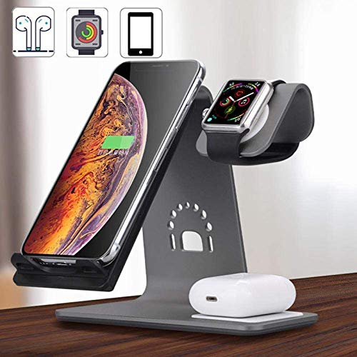 LAHappy 3 en 1 Cargador Inalámbrico 10W Universal Estación de Carga Inalámbrico de Aleación de Aluminio para iWatch Series AirPods iPhone 12/12 Pro/11 Pro Max/XR/XS/X/8/8 Plus,Gris