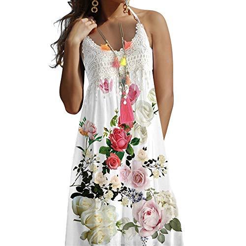 Vestido Halter Casual Vestido Estampado Floral de Sin Mangas Vestido de Encaje, Dragon868 Boho Vestidos Sexy Mujer de Fiesta, Camisolas y Pareos, Bikini Encubrir Verano 2020