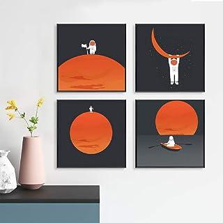 Unframed 4Set Spaceman Moon Print Wall Art Kids, Space Planet Wall décor Canvas, Astronaut Planet Canvas Print Poster Wall...