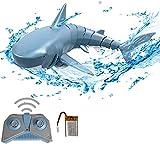 3T6B 2.4GHz Juguetes RC Tiburón Flexibles ,Barco de Juguete eléctrico con Control Remoto bajo el Agua Shark Toy, Juguete Regalo de Piscina para niños, Azul