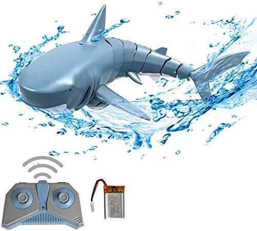 3T6B Flexibles Hai RC Spielzeug, 2.4G Fernbedienungssimulations Haiboot, Unterwasser RC Elektro Rennboot Spielzeugboot, für Poolgeschenk für Kinder, Blau