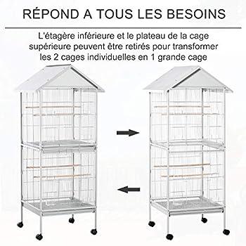 Pawhut Volière Cage à Oiseaux sur roulettes Design Maison mangeoires perchoirs 10 Portes Plateaux excréments Amovibles métal Blanc