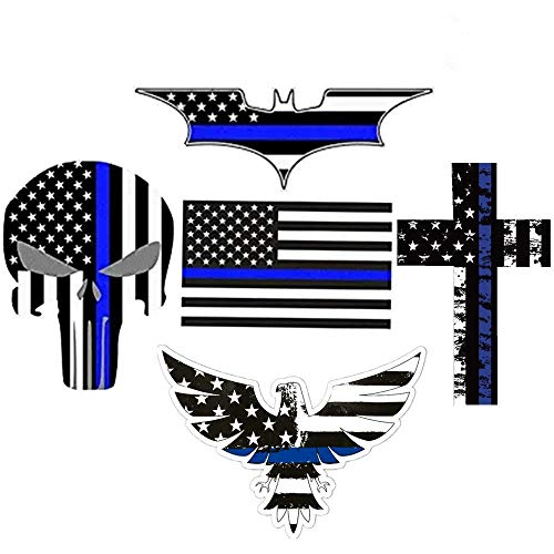 American Flag Punisher Skull Eagle Cross Decals Stickers - Great for Motorcycle Biker Helmet, Laptop, Hard Hat, Car Truck & More. Great Gift for Any Patriot,5 Decal Value Pack