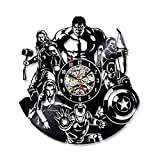 SOKIMI The Avengers Shape Schallplatte Uhr Kreative Hohl Marvel Comics LED Wanduhr Iron Man &...